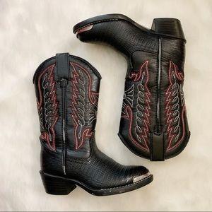 DURANGO Lizard Print Steel Toe Cowboy Boot EUC